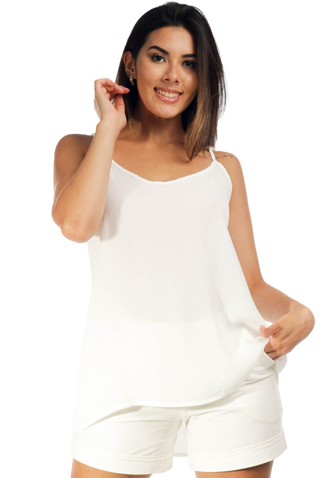 Blusa Regata Viscose Branco