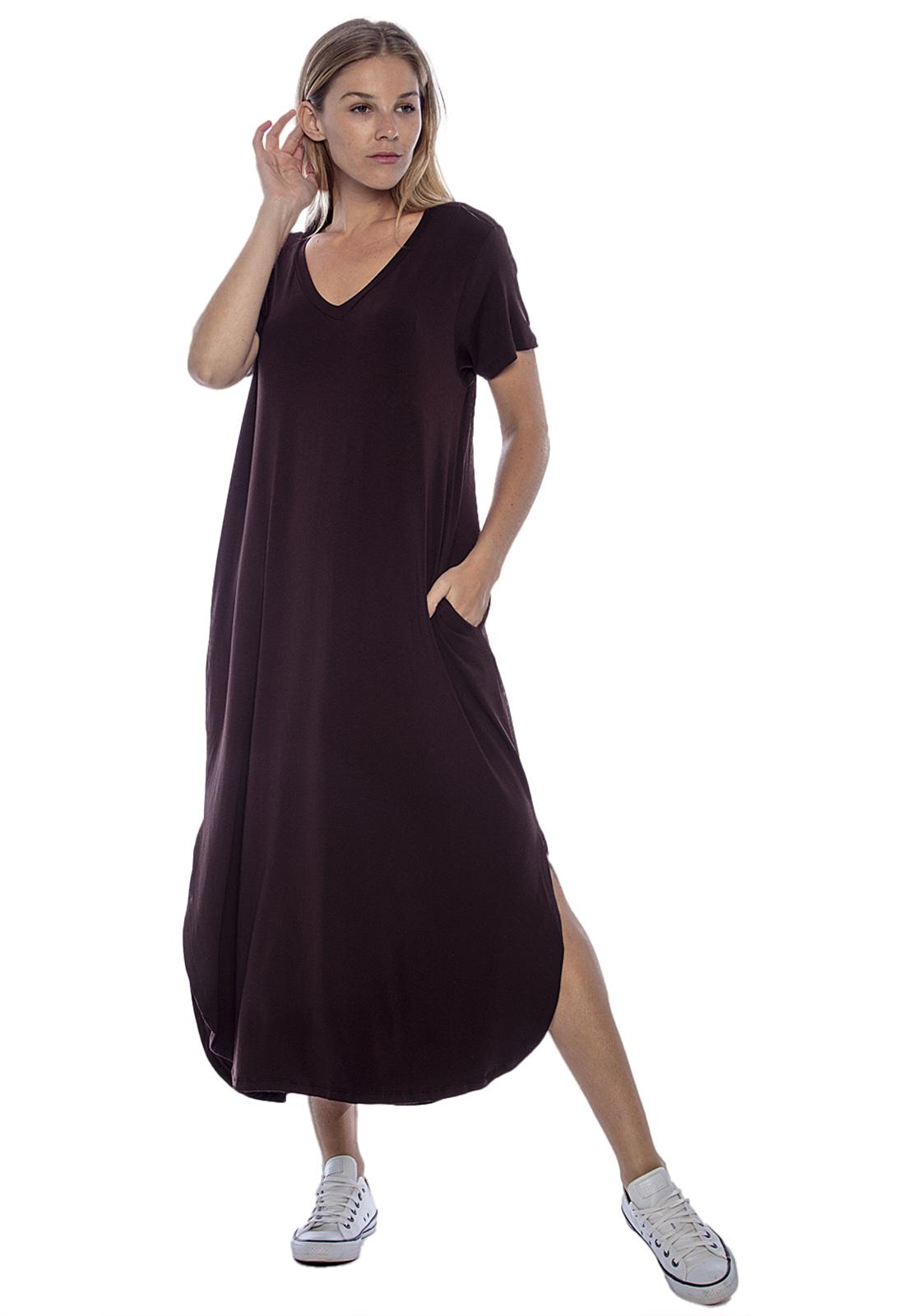 Vestido Midi Com Bolso Marrom