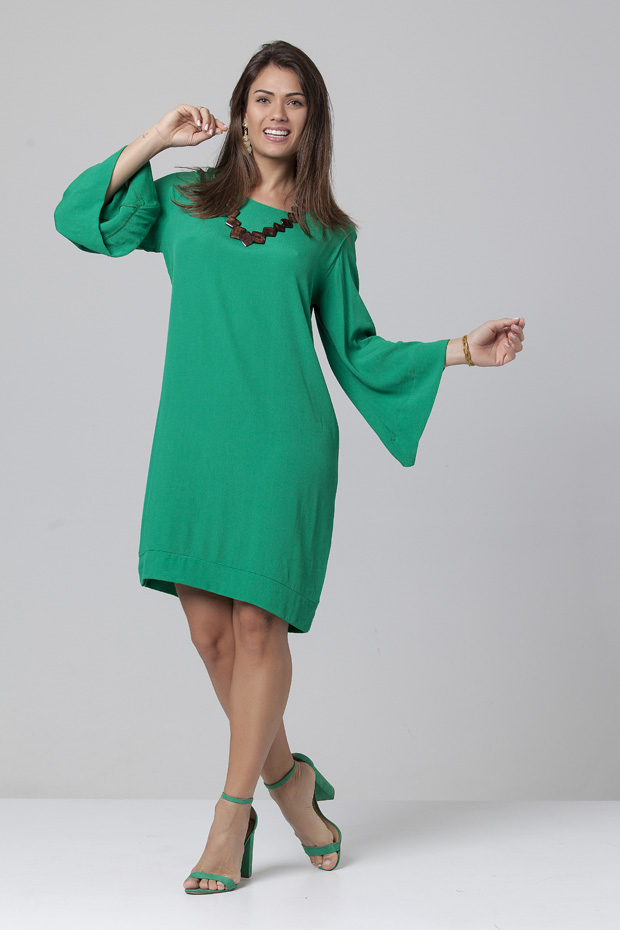 Vestido Manga Ampla Balli Verde