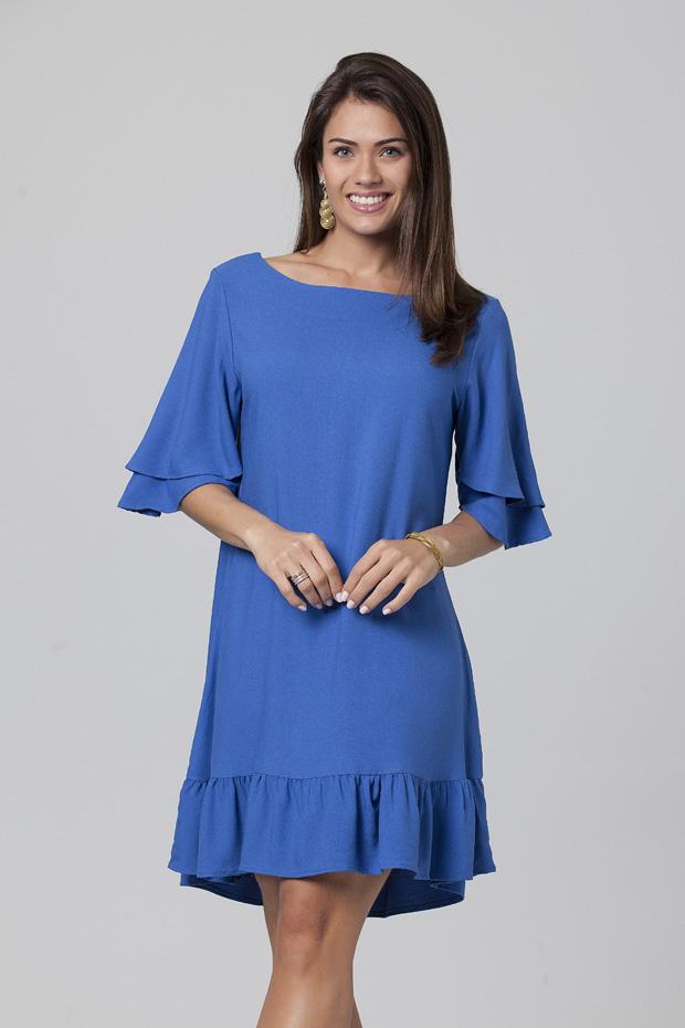 Vestido Curto Babados Blue