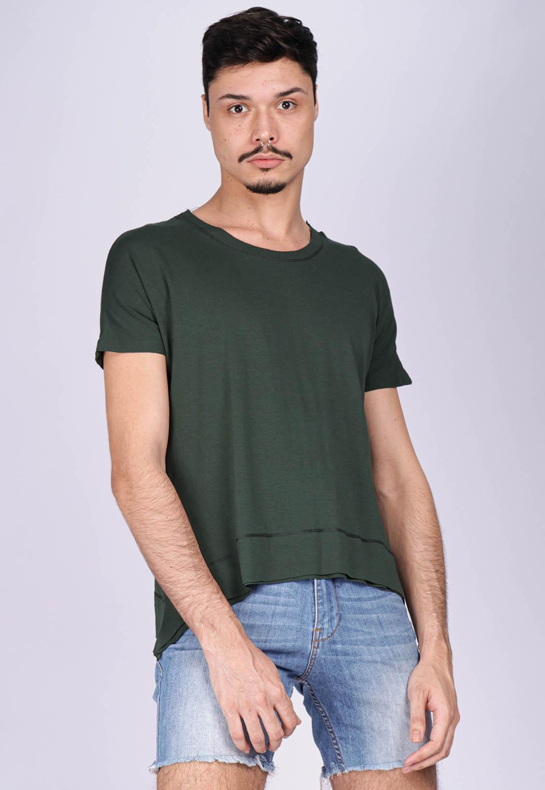 T-Shirt Ampla Malha Manga Curta Cippóo Verde Musgo