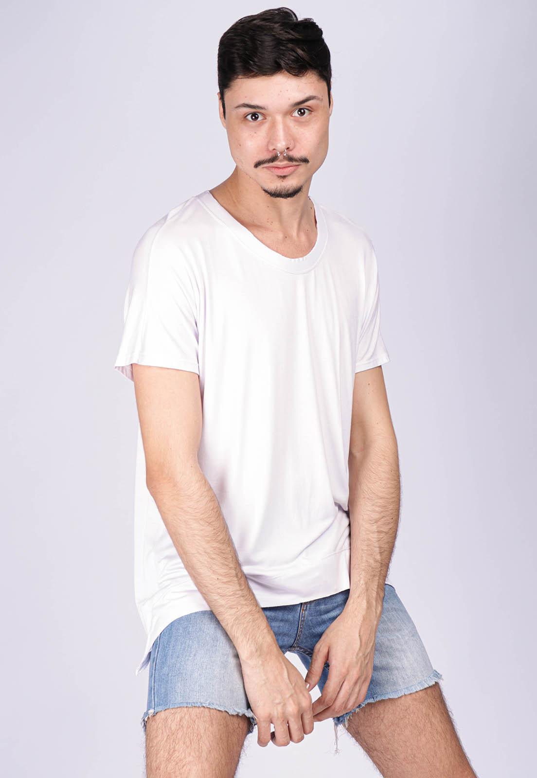 T-Shirt Ampla Malha Manga Curta Cippóo Branca