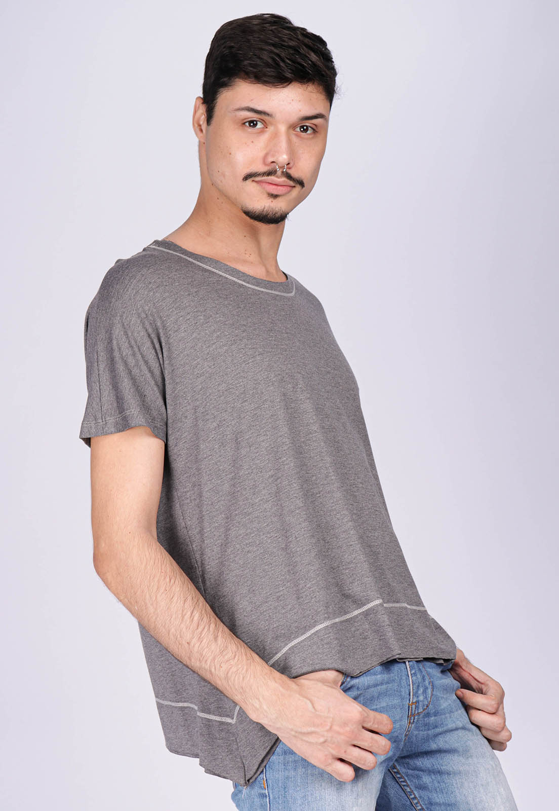 T-Shirt Ampla Malha Manga Curta Cippóo Mescla