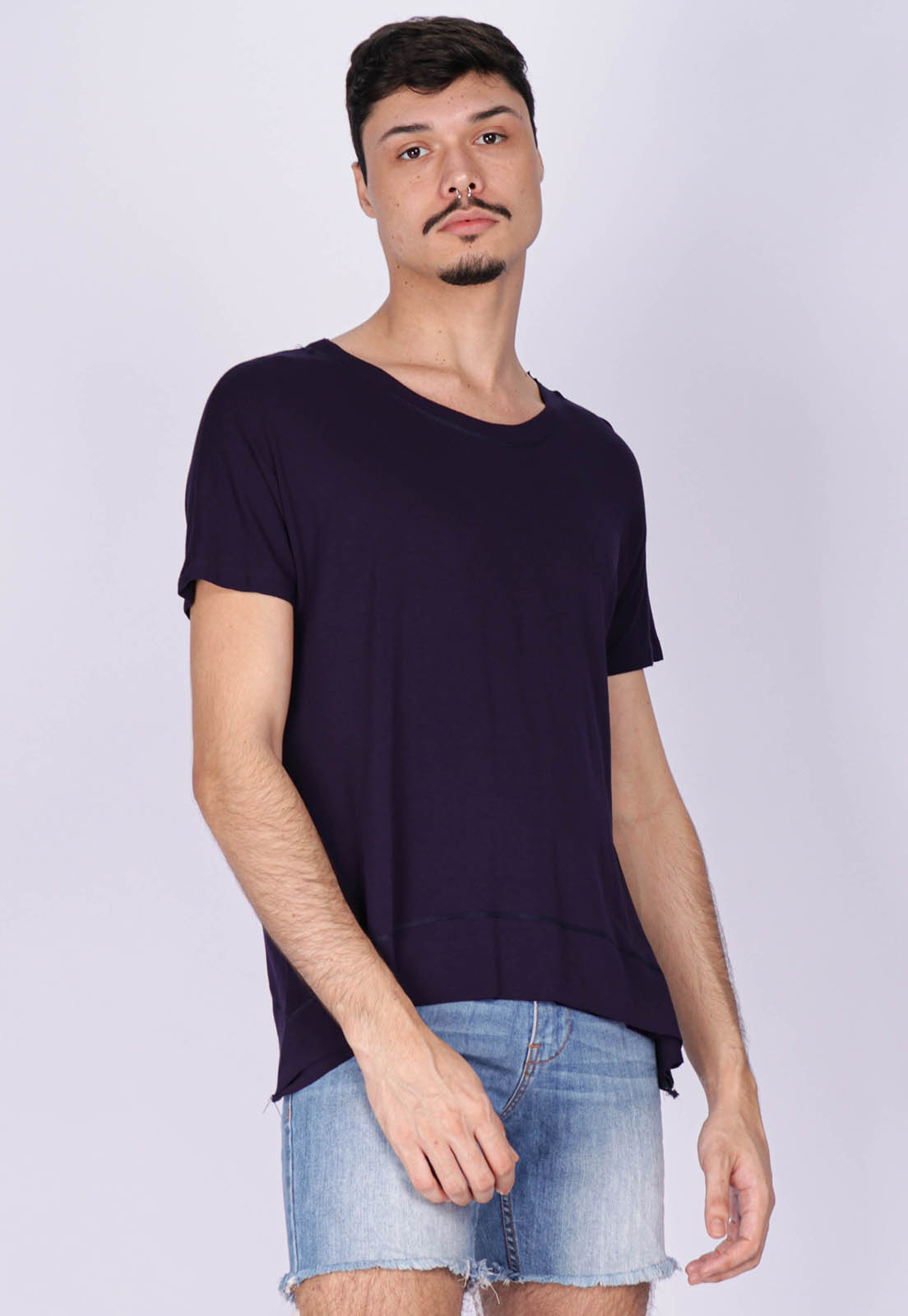 T-Shirt Ampla Malha Manga Curta Cippóo Azul Marinho