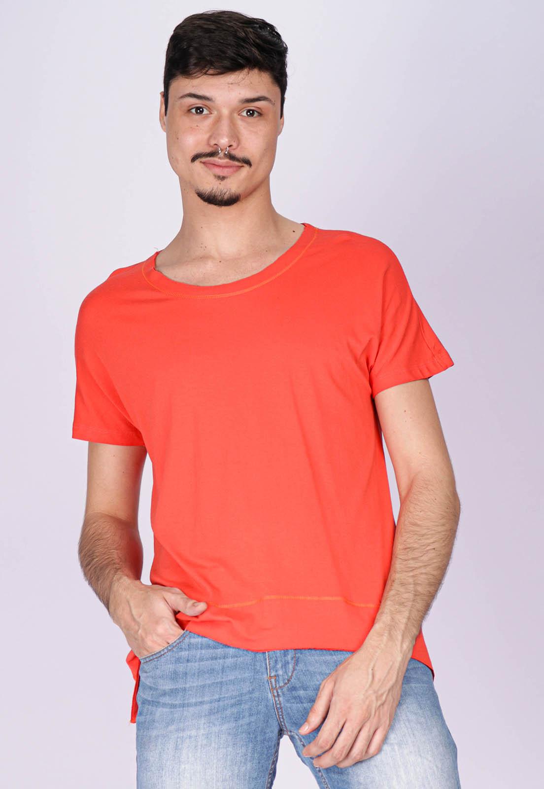 T-Shirt Ampla Malha Manga Curta Cippóo Laranja
