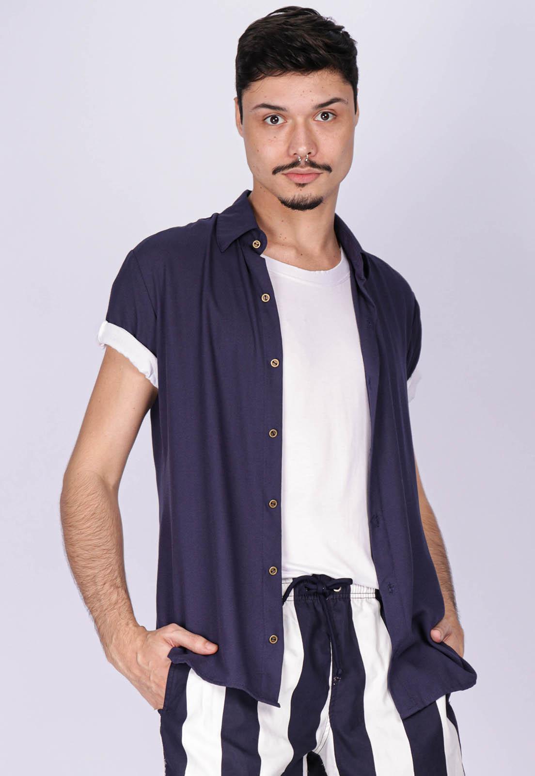 Camisa Viscose Cippóo Azul Marinho