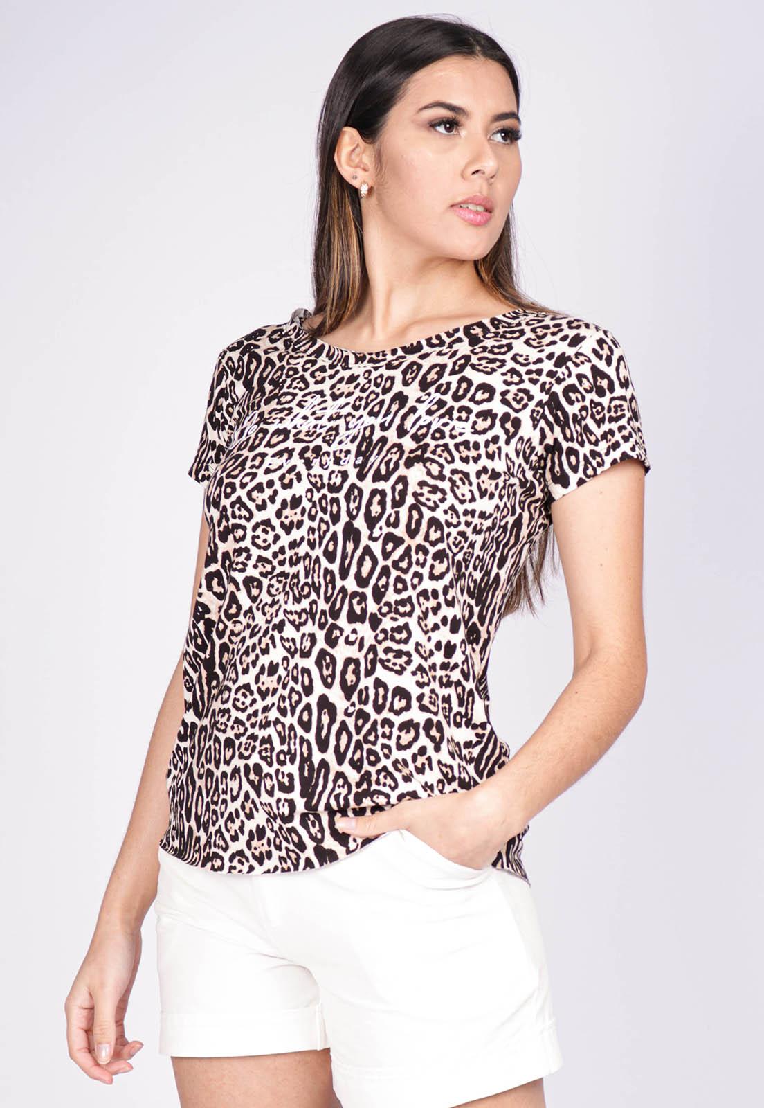 Blusa Basic Corte a Fio Malha Animal Print