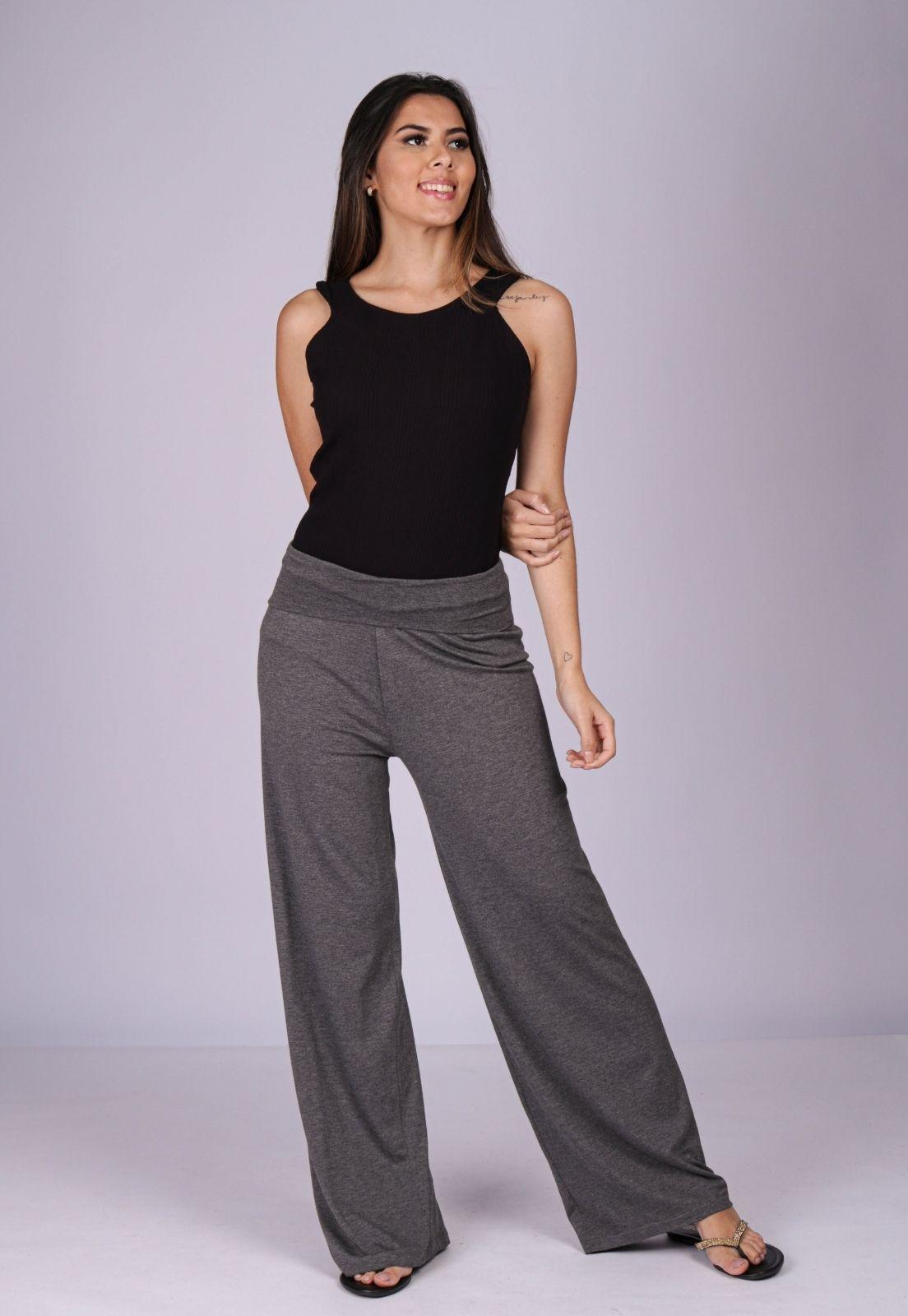 Calça Pantalona Reta Malha Cós Alto Mescla