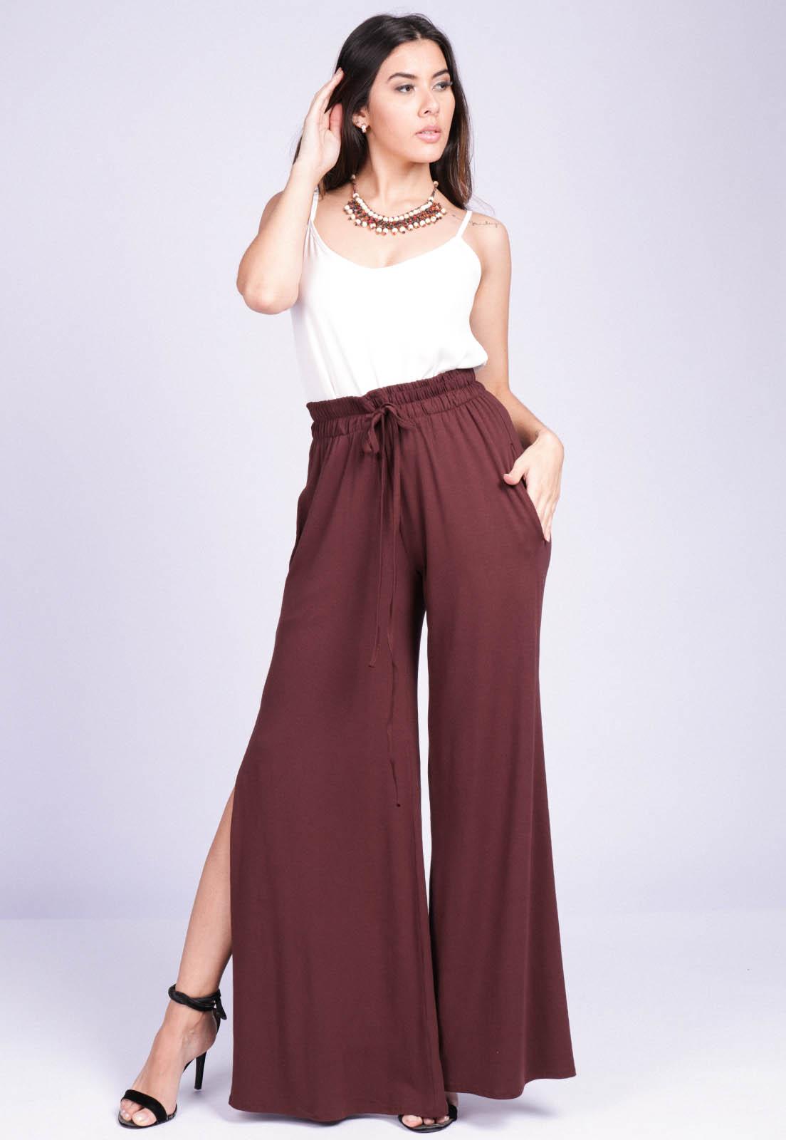 Calça Pantalona Malha com Fendas Marrom