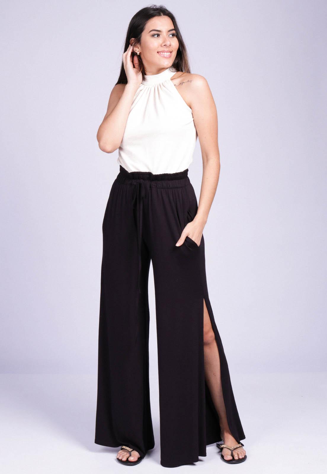Calça Pantalona Malha com Fendas Preto