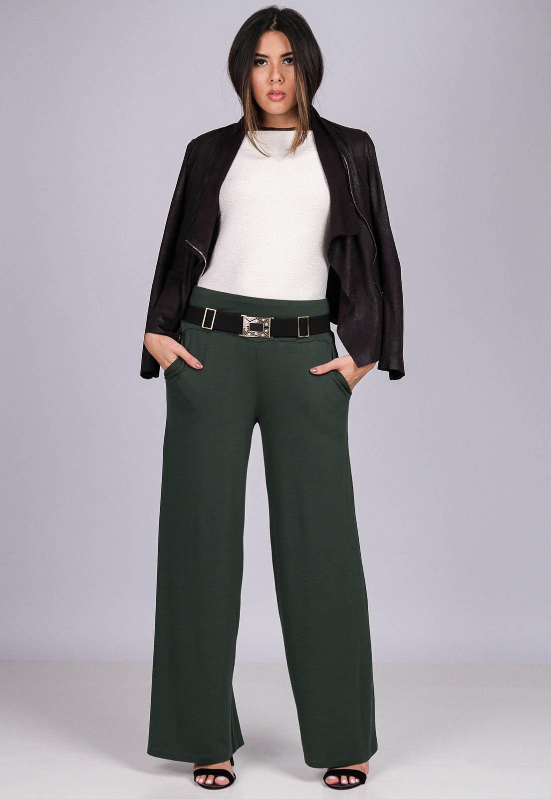 Calça Reta Pantalona Malha com Bolso Verde Musgo