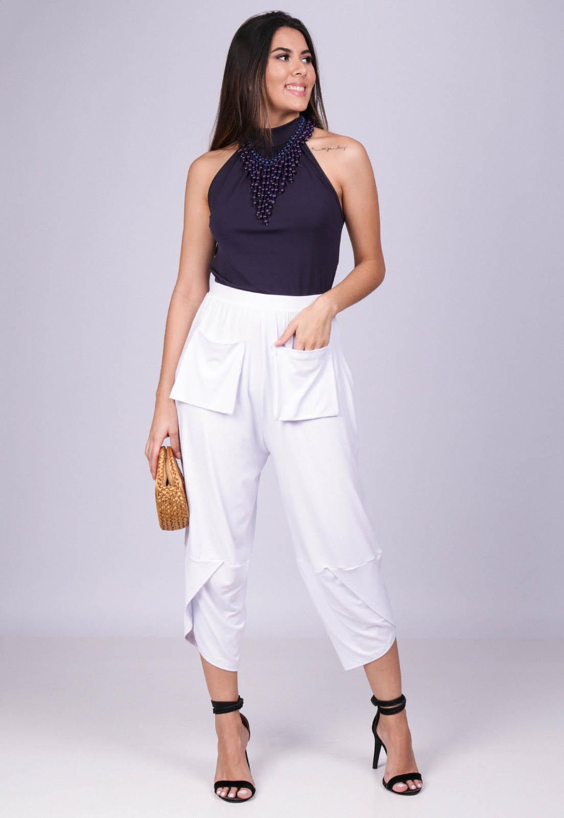 Calça Pantacourt Malha com Bolso Solto Branco