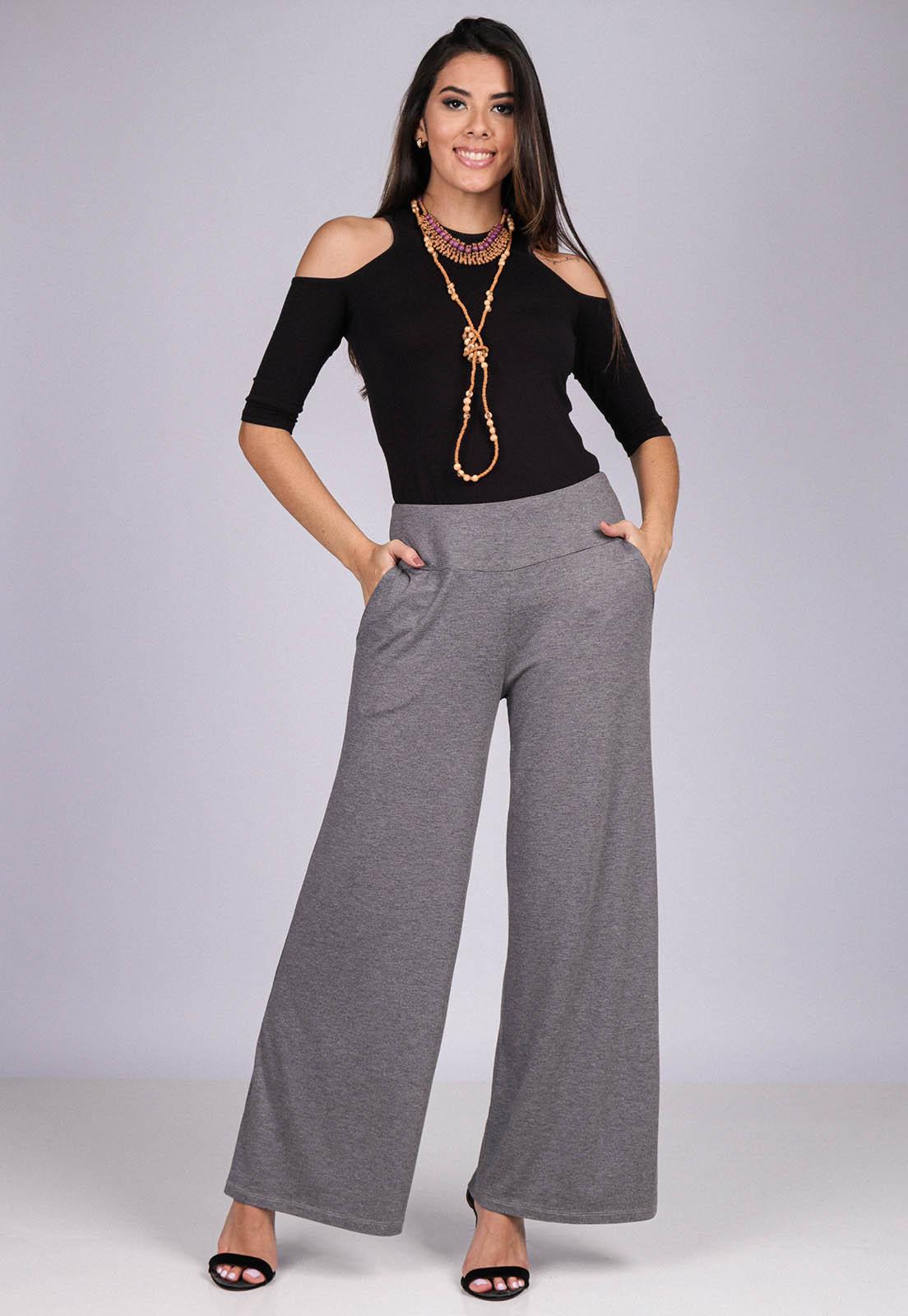 Calça Reta Pantalona Malha com Bolso Mescla