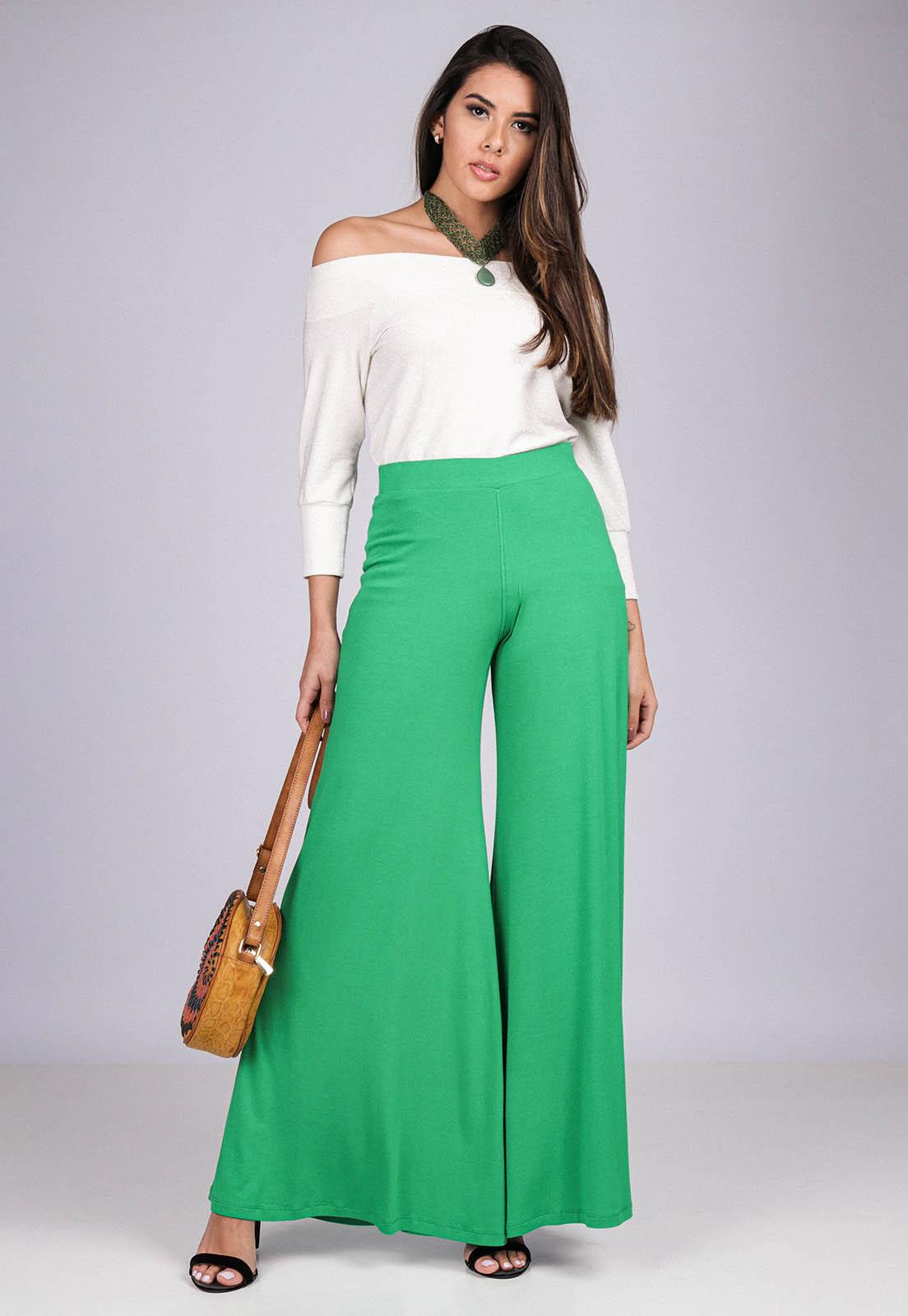 Calça Pantalona Malha Verde Light