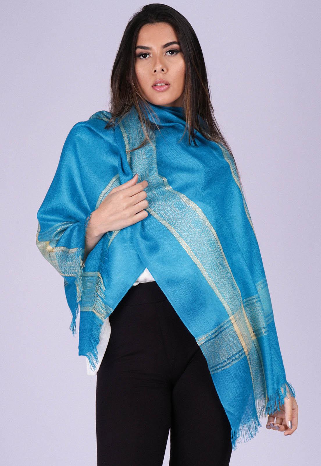 Echarpe Lenço Feminino Detalhe Dourado Panamá Azul Capri