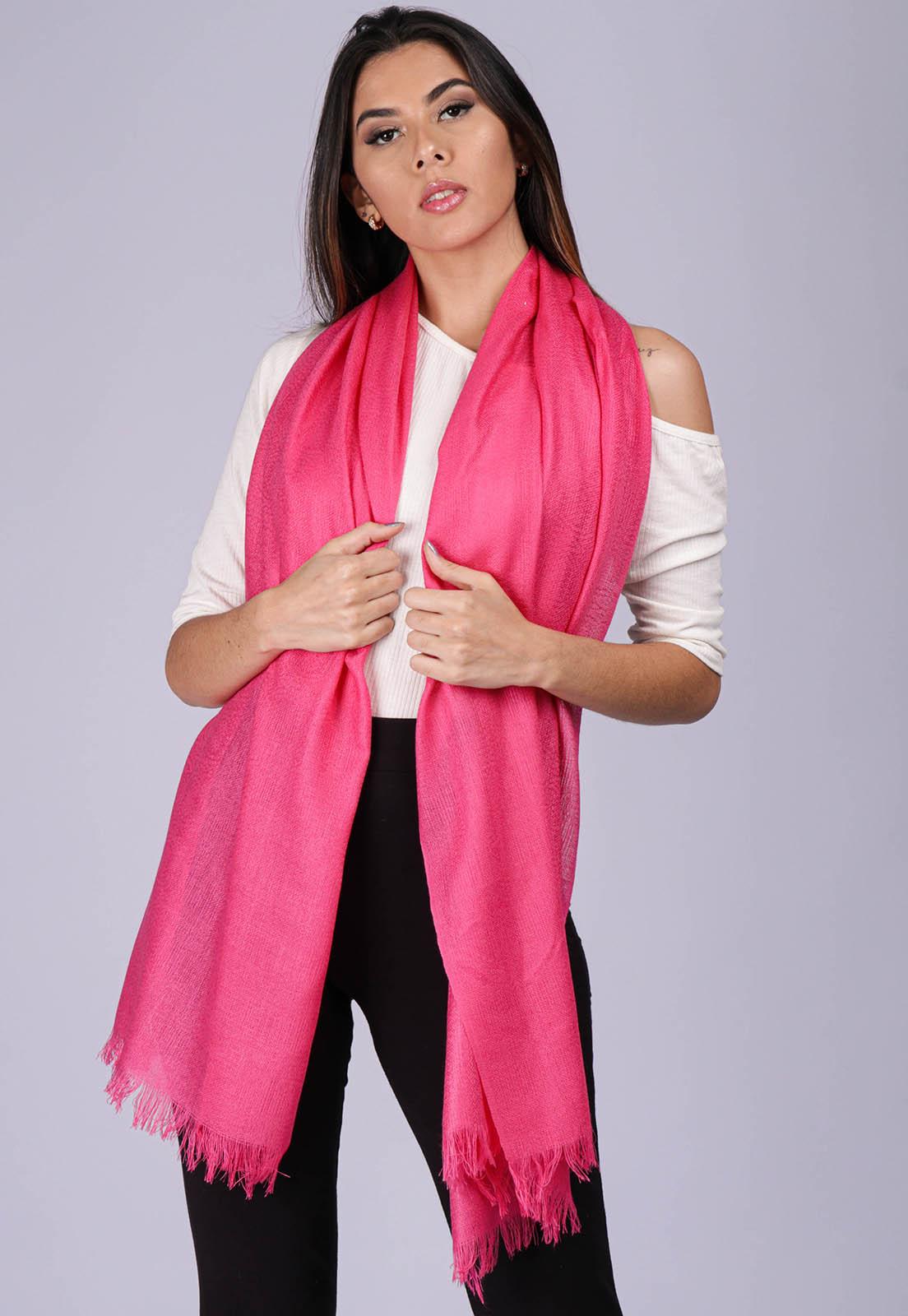 Echarpe Lenço Feminino Liso Panamá Rosa