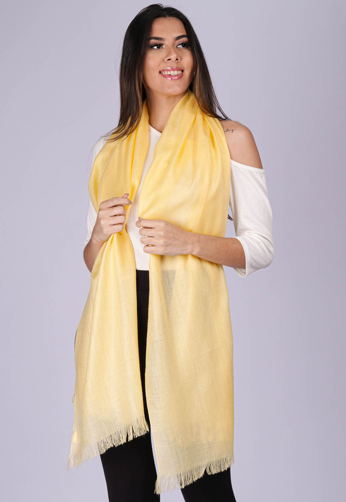 Echarpe Lenço Feminino Liso Panamá Amarelo Blond