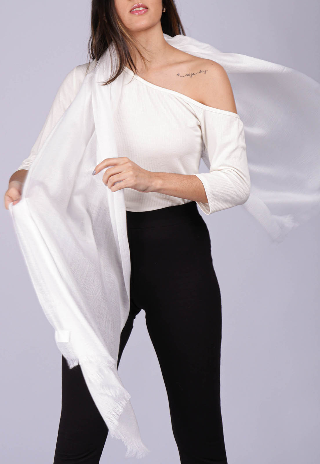 Echarpe Lenço Feminino Liso Panamá Branco