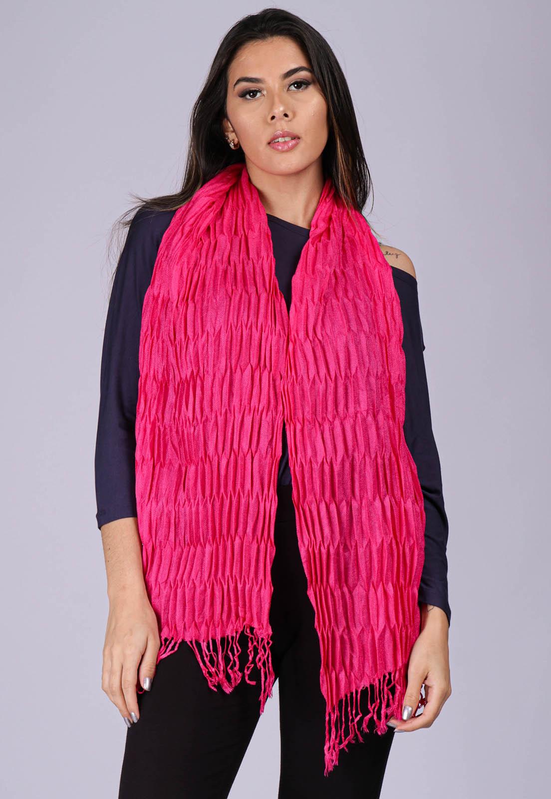 Echarpe Lenço Feminino Texturizado Pink