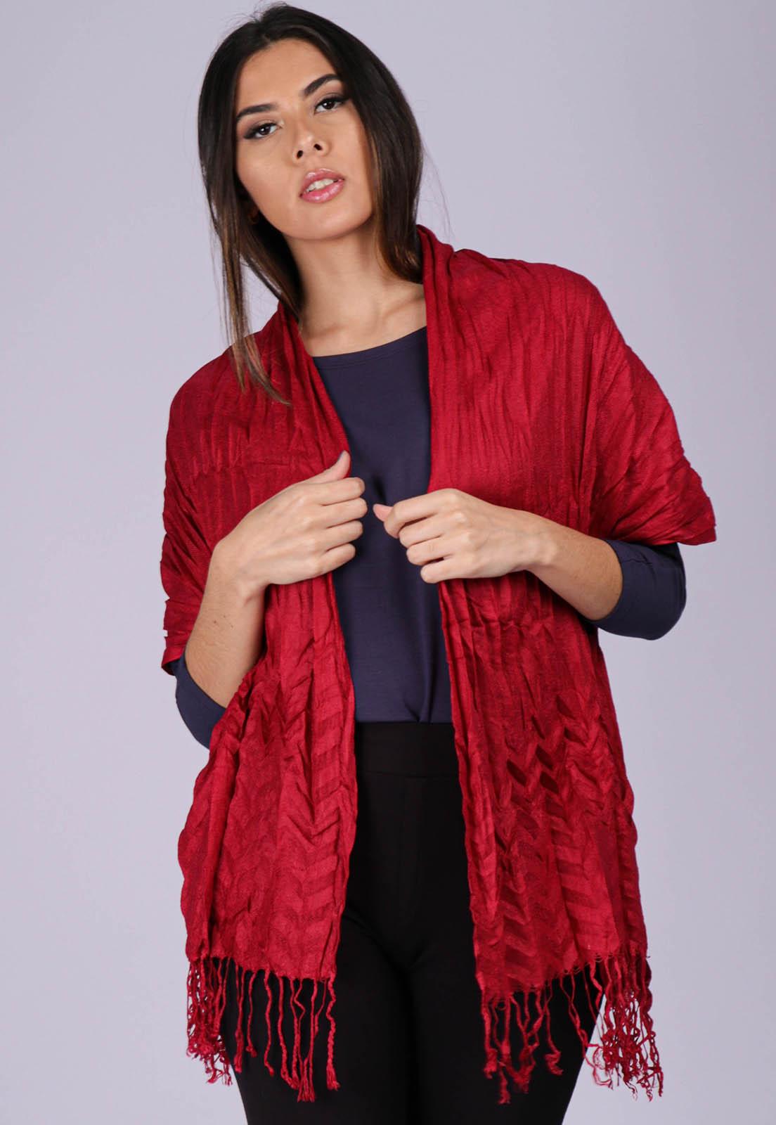 Echarpe Lenço Feminino Texturizado Vermelho Persa Red