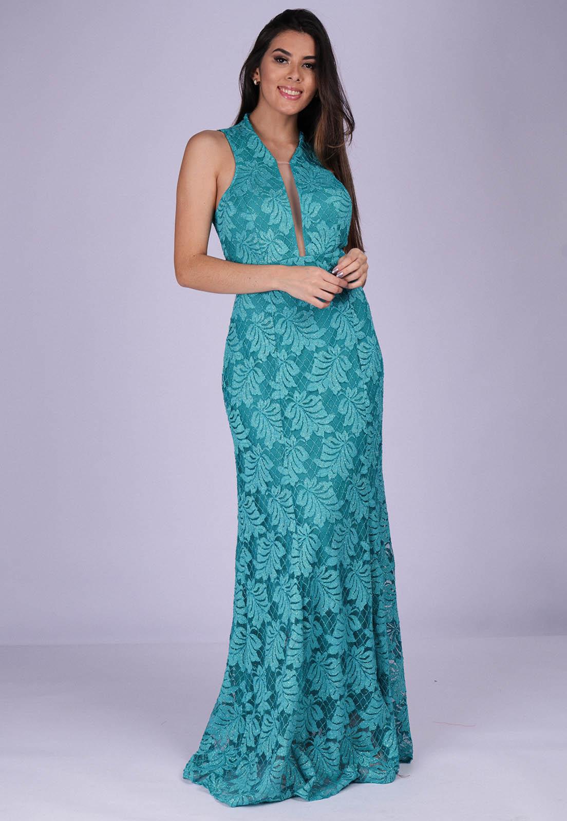 Vestido Longo de Festa com Fenda Rendado Azul Turquesa