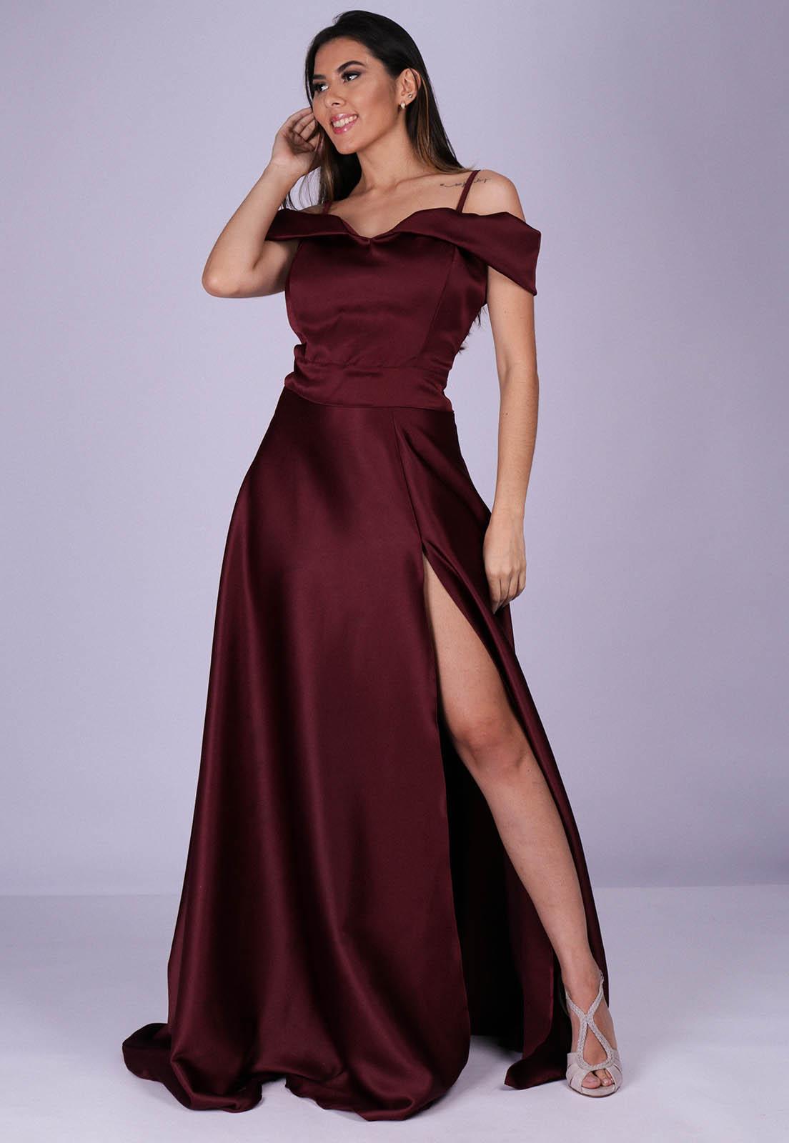 Vestido Longo de Festa Bella Vinho
