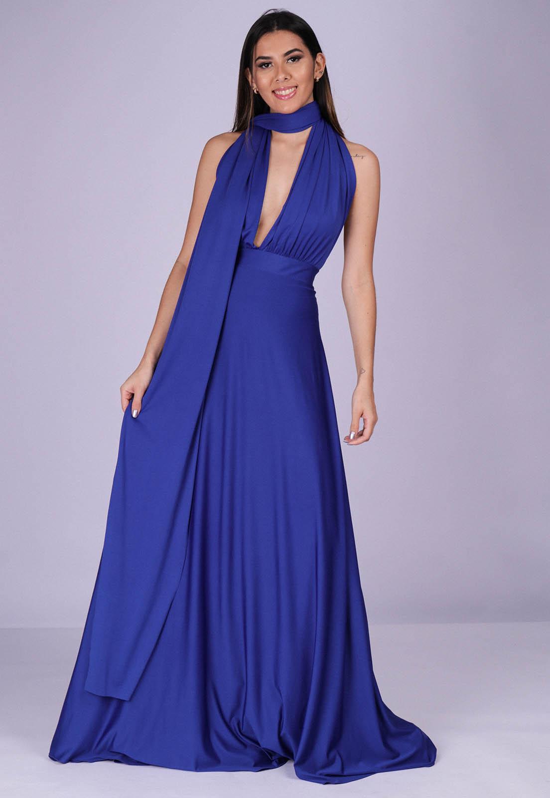 Vestido Longo de Festa Grécia Versatil Azul Bic