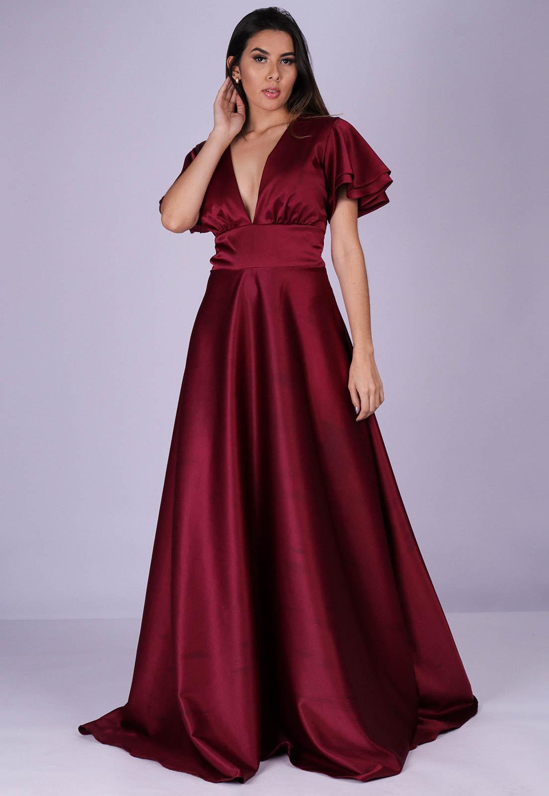 Vestido Longo de Festa Stella Vinho