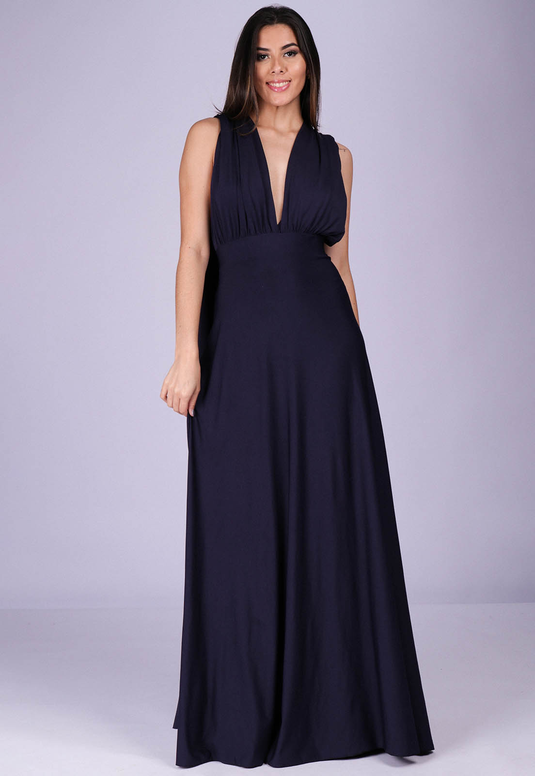 Vestido Longo de Festa Grécia Versatil Azul Marinho