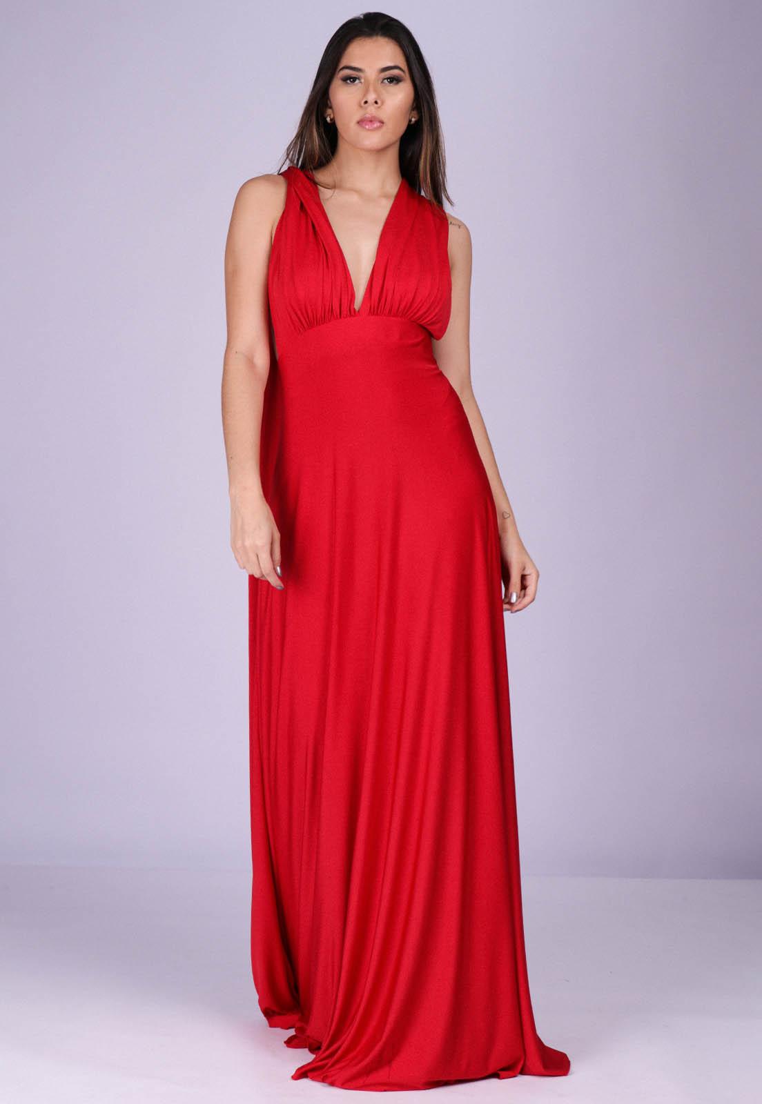 Vestido Longo de Festa Grécia Versatil Vermelho Rafaeli