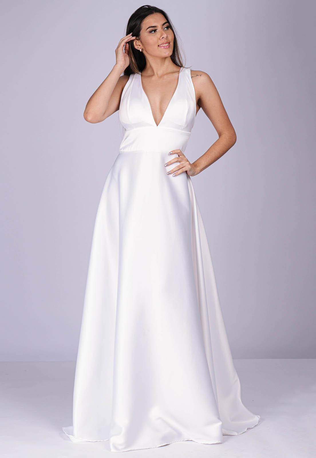 Vestido Longo de Festa New York Branco