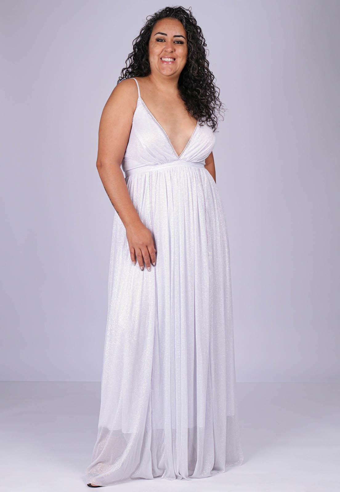 Vestido Longo de Festa com detalhe de Renda Branco