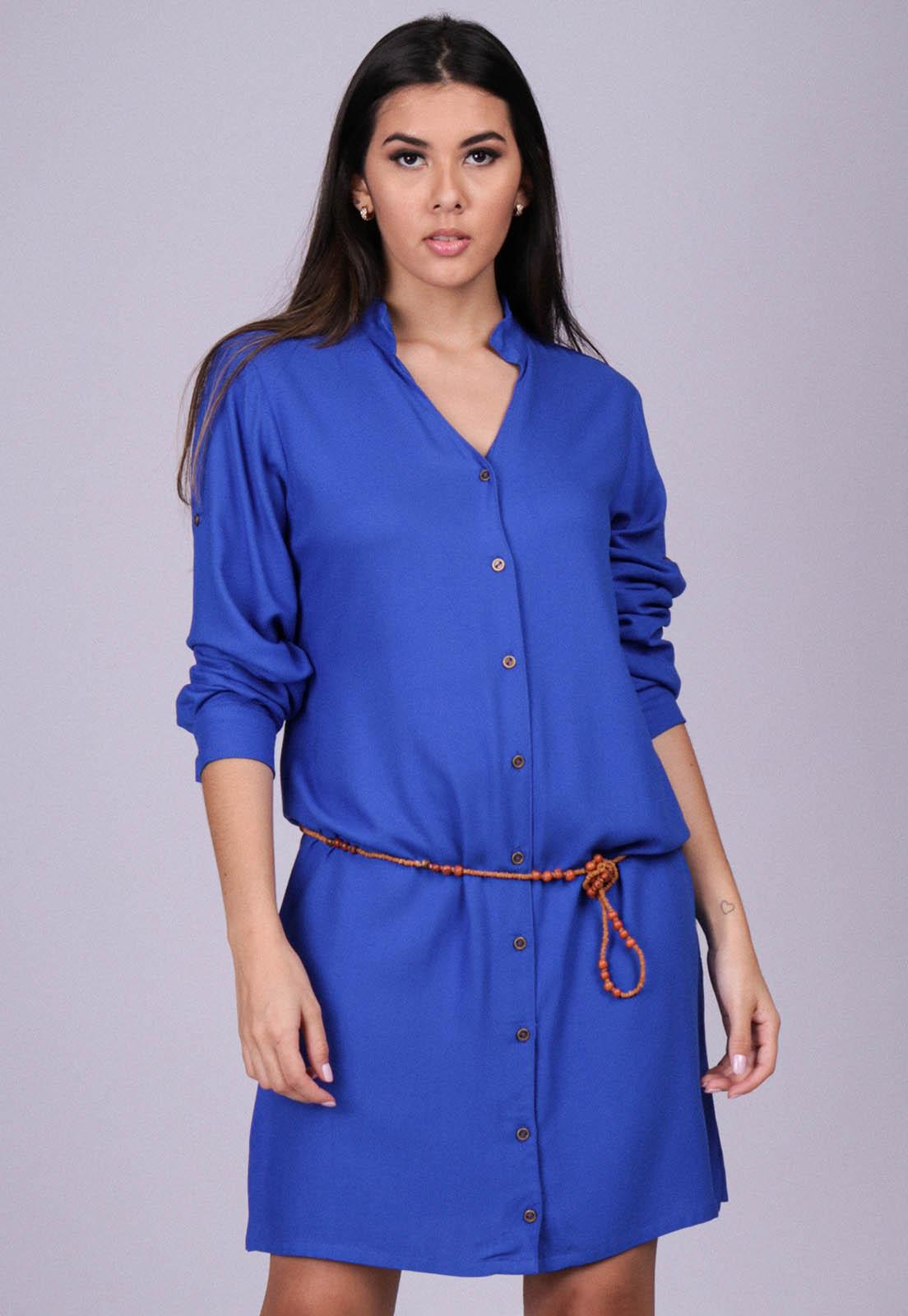 Vestido Chemise Viscose Manga Longa Azul Bic