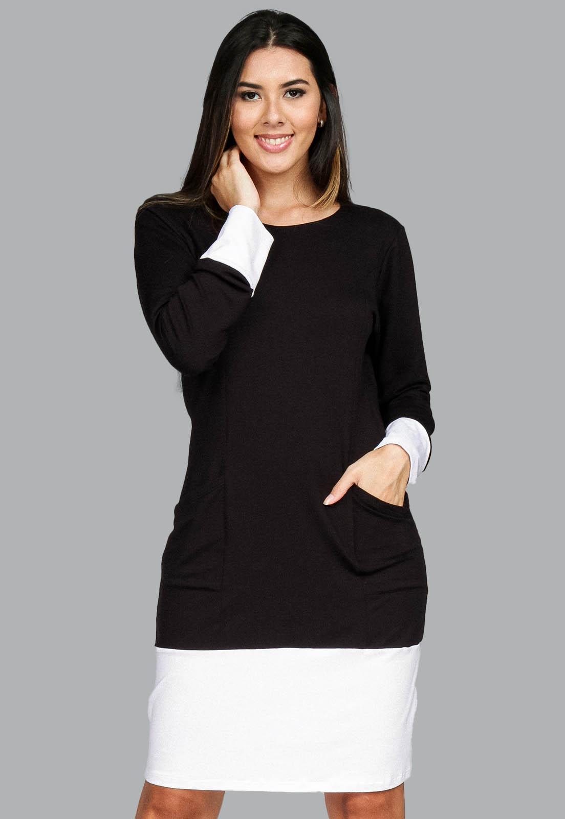 Vestido Curto Malha Manga Longa Preto e Branco