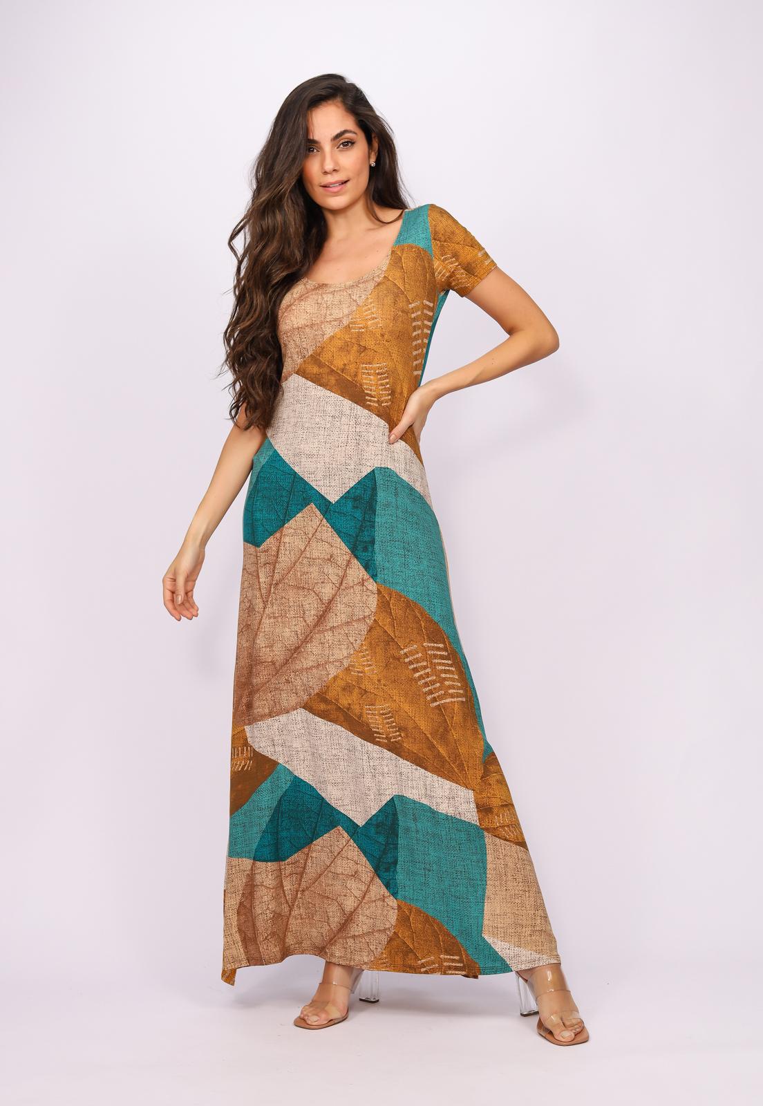 Vestido Longo Malha Gola Canoa Manga Curta Folhas de Outono