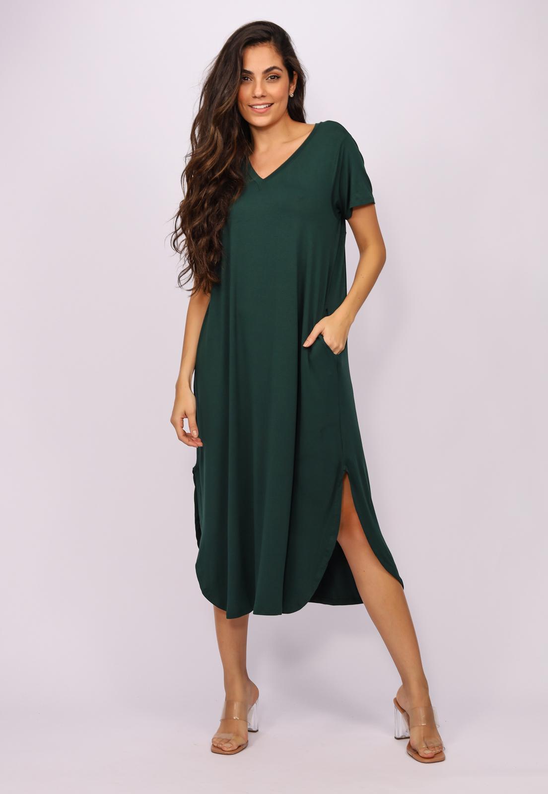 Vestido Midi Reto Malha Verde Musgo