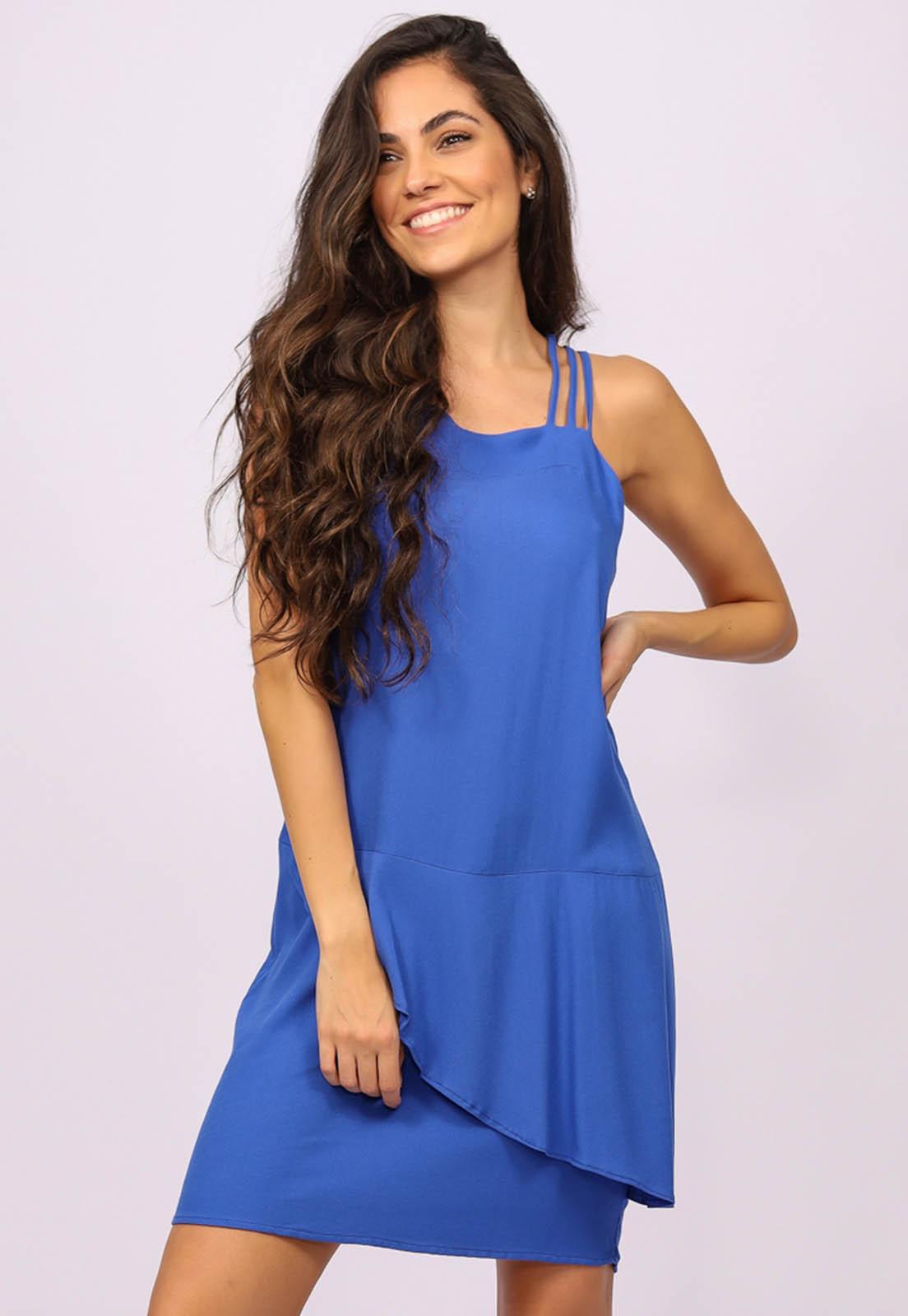 Vestido Curto Viscose Regata Alça Tripla Azul Bic