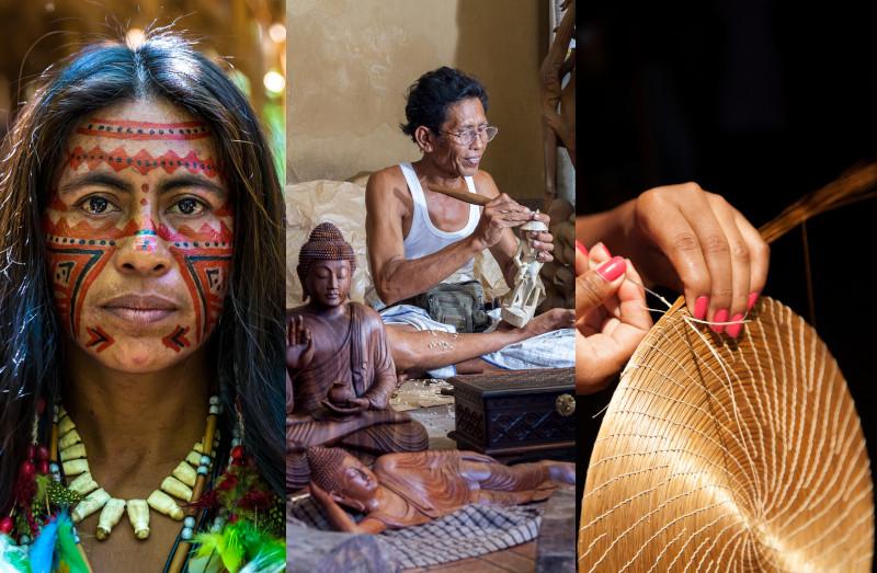 As biojóias e os artesanatos são feitos por tribos indígenas e artesãos.